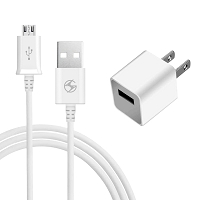 Micro V8 V9 2 in 1 Travel Home Charger White